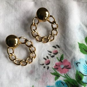 Deadstock Monet 14k Gold Post Hoop Chain Earring